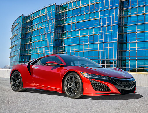 AUT 52 RK0003 01 © Kimball Stock 2016 Acura NSX Hybrid Red 3/4 Front View By Building