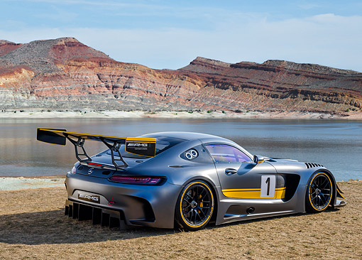 AUT 52 RK0012 01 © Kimball Stock 2016 Mercedes-Benz AMG GT3 3/4 Rear View In Desert