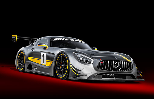 AUT 52 RK0022 01 © Kimball Stock 2016 Mercedes-Benz AMG GT3 3/4 Front View In Studio