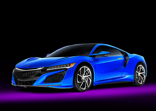 AUT 52 RK0023 01 © Kimball Stock 2016 Acura NSX Hybrid Blue 3/4 Front View In Studio