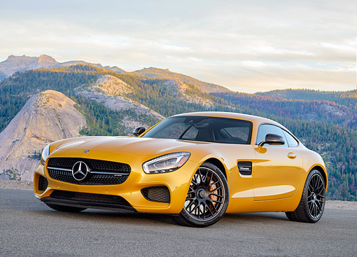 AUT 52 RK0033 01 © Kimball Stock 2016 Mercedes AMG GT S V8 Biturbo Gold 3/4 Front View By Mountains
