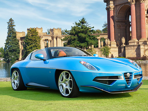 AUT 52 RK0038 01 © Kimball Stock 2016 Alfa Romeo Disco Volante Spyder Blue 3/4 Front View On Grass By Lake