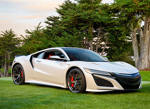 AUT 53 RK0002 01 © Kimball Stock 2017 Acura NSX White 3/4 Front View On Grass By Trees