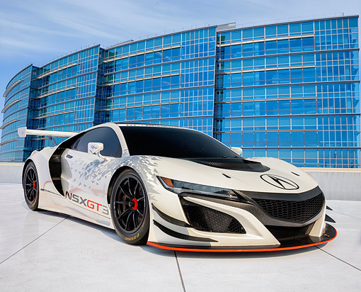 AUT 53 RK0003 01 © Kimball Stock 2017 Acura NSX GT3 Race Car White 3/4 Front View On Pavement By Building
