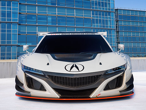 AUT 53 RK0004 01 © Kimball Stock 2017 Acura NSX GT3 Race Car White Front View On Pavement By Building
