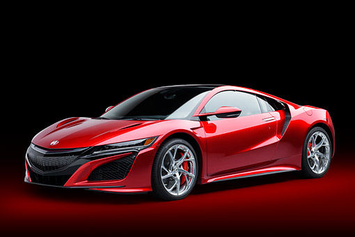 AUT 53 RK0011 01 © Kimball Stock 2017 Acura NSX Hybrid Supercar Red 3/4 Front View In Studio