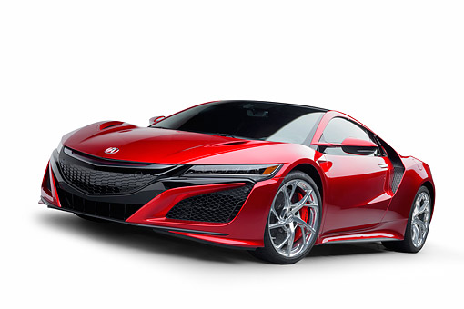 AUT 53 RK0012 01 © Kimball Stock 2017 Acura NSX Hybrid Supercar Red Low 3/4 Front View In Studio