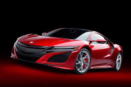 AUT 53 RK0013 01 © Kimball Stock 2017 Acura NSX Hybrid Supercar Red Low 3/4 Front View In Studio