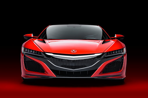 AUT 53 RK0016 01 © Kimball Stock 2017 Acura NSX Hybrid Supercar Red Front View In Studio