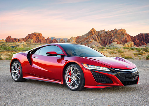 AUT 53 RK0017 01 © Kimball Stock 2017 Acura NSX Hybrid Supercar Red 3/4 Front View In Desert At Dusk