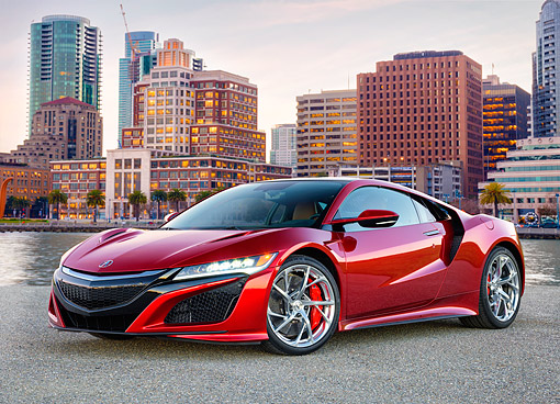 AUT 53 RK0018 01 © Kimball Stock 2017 Acura NSX Hybrid Supercar Red 3/4 Front View At Edge Of Bay With City In Background