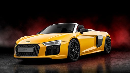 AUT 53 RK0021 01 © Kimball Stock 2017 Audi R8 V10 Spyder Yellow 3/4 Front In Studio