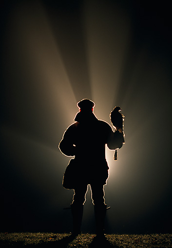 BRD 08 WF0001 01 © Kimball Stock Silhouette Of Falconer Holding A Harris Hawk At Night