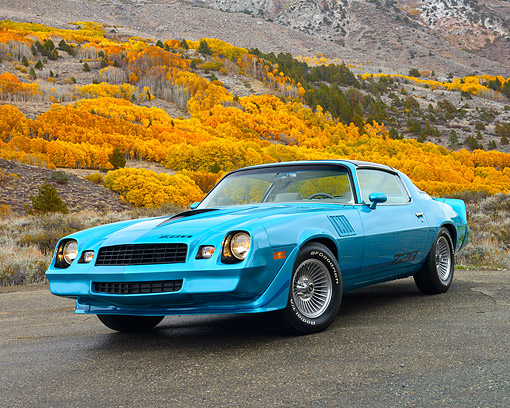 CAM 01 RK0289 01 © Kimball Stock 1979 Chevrolet Camaro Z-28 Blue 3/4 Front View On Pavement By Hills In Autumn