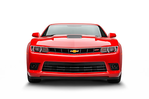 CAM 02 BK0005 01 © Kimball Stock 2014 Chevrolet Camaro SS Red Front View On White Seamless