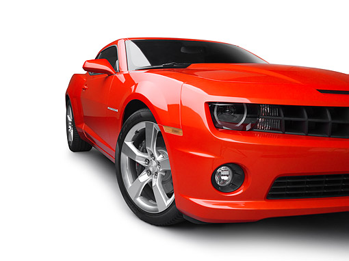 CAM 02 RK0097 01 © Kimball Stock 2011 Chevrolet Camaro SS Red 3/4 Front View On White Seamless