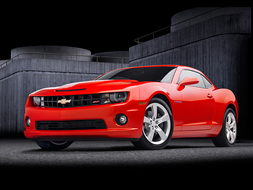 CAM 02 RK0104 01 © Kimball Stock 2011 Chevrolet Camaro SS Red 3/4 Front View With Studio Background
