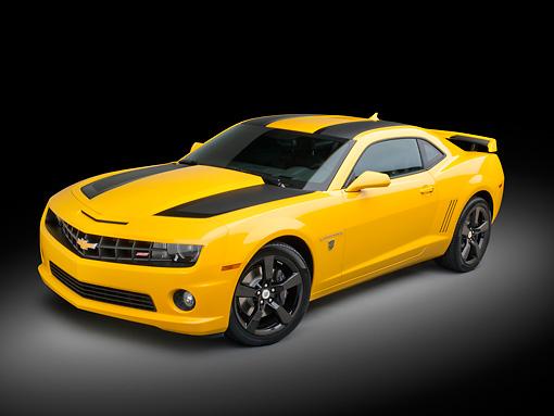 2012 Chevrolet Camaro SS Yellow 3/4 Front View In Black Studio ...