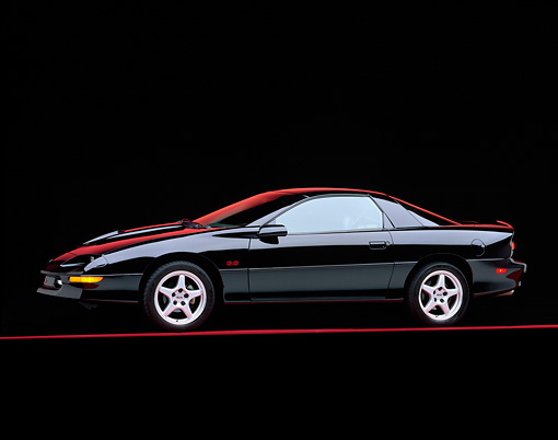 CAM 02 RK0004 02 © Kimball Stock 1996 Chevrolet Camaro SS Black 3/4 Side View On Red Line Studio