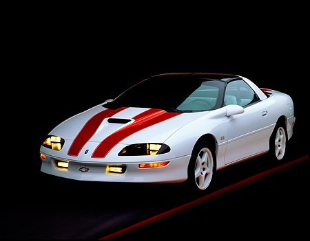 CAM 02 RK0014 01 © Kimball Stock 1997 Chevrolet Camaro SS 30th Anniversary White Red Stripes 3/4 Front View On Red Line Studio