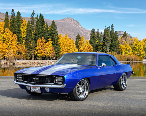 CAM 03 RK0268 01 © Kimball Stock 1969 Chevrolet Camaro RS/SC Blue 3/4 Front View On Pavement By Water And Autumn Trees
