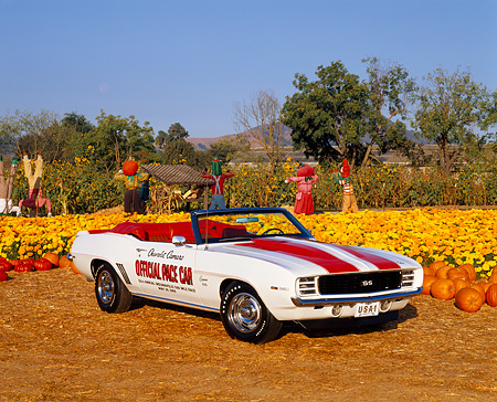 CAM 03 RK0025 03 © Kimball Stock 1969 Chevrolet Camaro Convertible Pace Car White With Hugger Orange Stripes 3/4 Front View At Pumpkin Patch