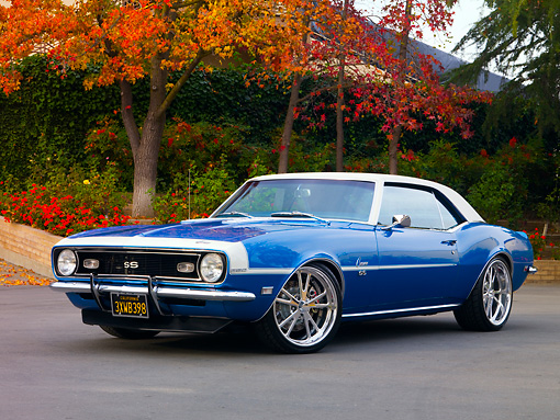 CAM 03 RK0165 01 © Kimball Stock 1968 Chevrolet Camaro SS LeMans Blue 3/4 Front View On Pavement By Trees