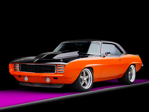 CAM 03 RK0189 01 © Kimball Stock 1969 Chevrolet Camaro Orange And Black 3/4 Front View Studio