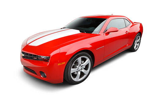 CAM 04 BK0002 01 © Kimball Stock 2012 Chevrolet Camaro Red With White Stripe 3/4 Front View On White Seamless