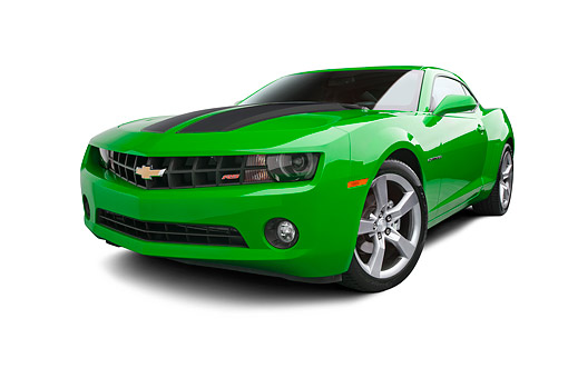 CAM 04 BK0029 01 © Kimball Stock 2012 Chevrolet Camaro RS Green With Black Stripe 3/4 Front View On White Seamless
