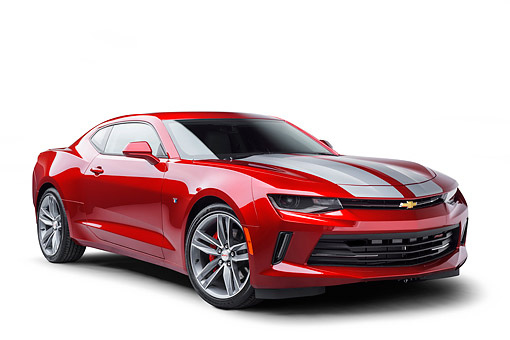 CAM 04 BK0053 01 © Kimball Stock 2017 Chevrolet Camaro 1LT RS Package Red 3/4 Front View In Studio