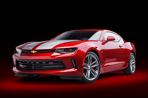 CAM 04 BK0054 01 © Kimball Stock 2017 Chevrolet Camaro 1LT RS Package Red 3/4 Front View In Studio