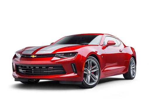 CAM 04 BK0055 01 © Kimball Stock 2017 Chevrolet Camaro 1LT RS Package Red 3/4 Front View In Studio