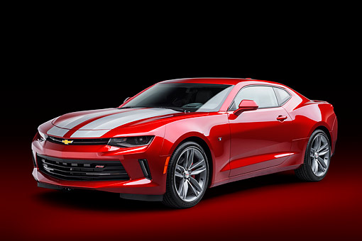 CAM 04 BK0058 01 © Kimball Stock 2017 Chevrolet Camaro 1LT RS Package Red  3/4 Front View In Studio