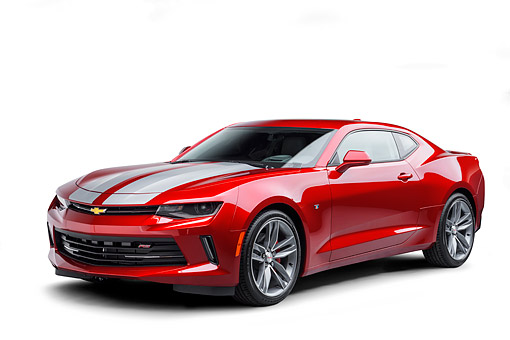 CAM 04 BK0059 01 © Kimball Stock 2017 Chevrolet Camaro 1LT RS Package Red  3/4 Front View In Studio