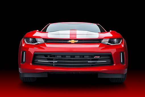CAM 04 BK0063 01 © Kimball Stock 2017 Chevrolet Camaro 1LT RS Package Red Front View In Studio