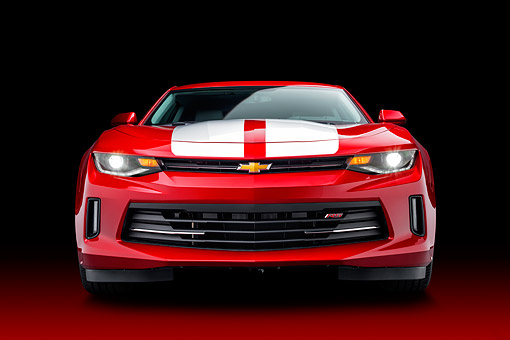 CAM 04 BK0065 01 © Kimball Stock 2017 Chevrolet Camaro 1LT RS Package Red Front View In Studio