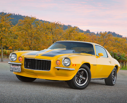 CAM 04 RK0254 01 © Kimball Stock 1971 Chevrolet Camaro High Velocity Yellow With Charcoal Pearl Stripes 3/4 Front View On Pavement By Autumn Trees And Vineyard