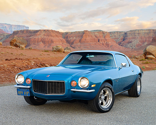 CAM 04 RK0275 01 © Kimball Stock 1972 Chevrolet Camaro Rally Sport Blue 3/4 Front View On Pavement By Desert Skyline