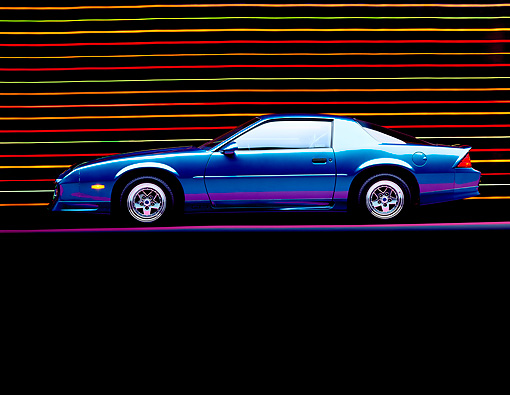 CAM 04 RK0020 03 © Kimball Stock 1991 Blue Chevy Camaro Side View On Purple & Blue Lines Colorful Lines In Background