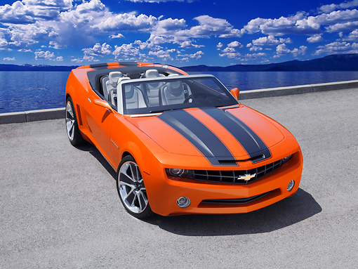 CAM 04 RK0089 01 © Kimball Stock Chevrolet Camaro Convertible Concept Orange And Black Overhead 3/4 Front View On Pavement