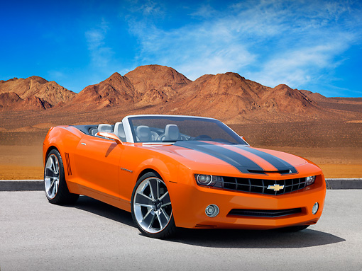 CAM 04 RK0091 01 © Kimball Stock Chevrolet Camaro Convertible Concept Orange And Black Low 3/4 Front View On Pavement