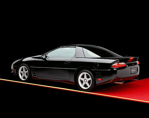 CAM 05 RK0002 01 © Kimball Stock 1994 Chevrolet Camaro Calloway C-8 Black 3/4 Rear View On Red Floor Studio