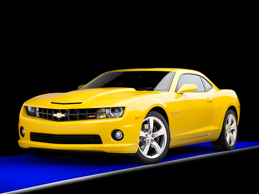 CAM 07 RK0123 01 © Kimball Stock 2010 Chevrolet Camaro RS/SS Yellow 3/4 Front View Studio