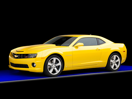 CAM 07 RK0124 01 © Kimball Stock 2010 Chevrolet Camaro RS/SS Yellow 3/4 Front View Studio