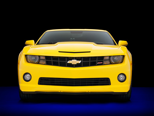 CAM 07 RK0125 01 © Kimball Stock 2010 Chevrolet Camaro RS/SS Yellow Front View Studio