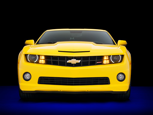 CAM 07 RK0126 01 © Kimball Stock 2010 Chevrolet Camaro RS/SS Yellow Front View Studio
