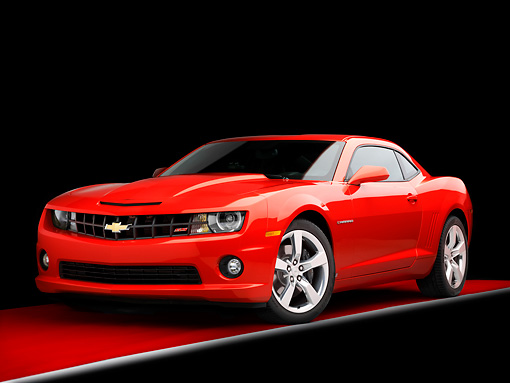 CAM 07 RK0127 01 © Kimball Stock 2010 Chevrolet Camaro RS/SS Red 3/4 Front View Studio