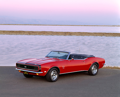 CAM 07 RK0007 14 © Kimball Stock 1968 Chevrolet Camaro SS/RS Convertible Red 3/4 Front View By Water