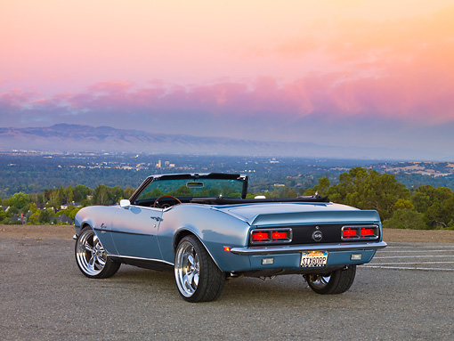 CAM 07 RK0087 01 © Kimball Stock 1968 Chevrolet Camaro SS Convertible Blue 3/4 Rear View On Pavement By Valley